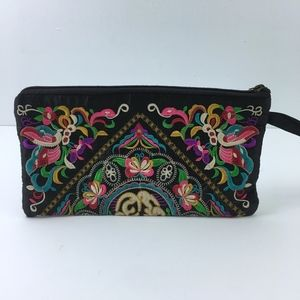 Vibrant Foral Embroided Bohemian Wristlet Clutch